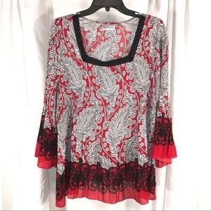 Red Gray Paisley Top by Avenue, Size 18/20